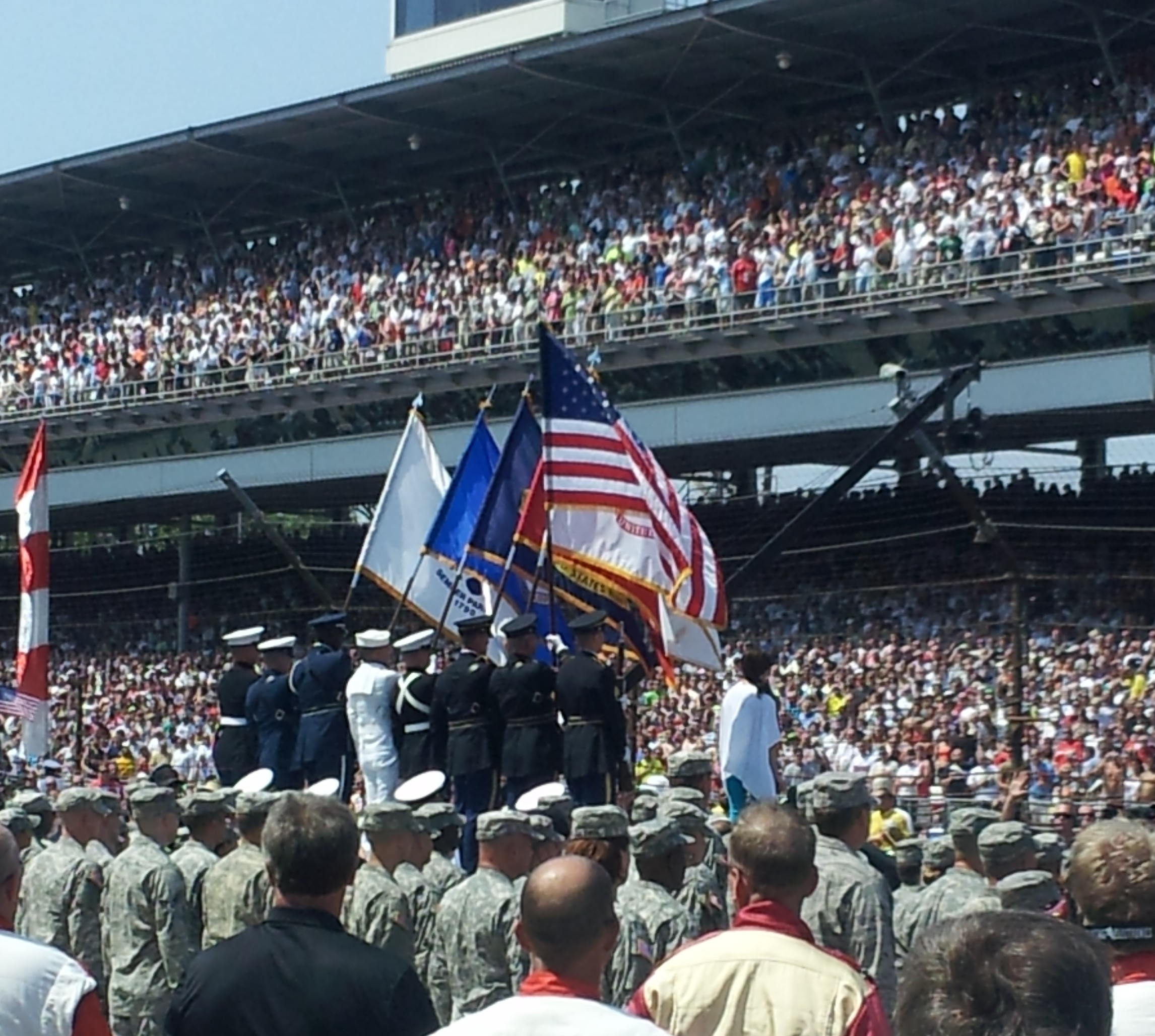 Martina McBride, far right on stage, sings national anthem