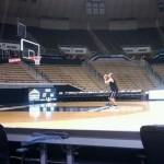 Robbie Hummel shoots free throws alone after the High Point game in November 2011. By Cliff Brunt.