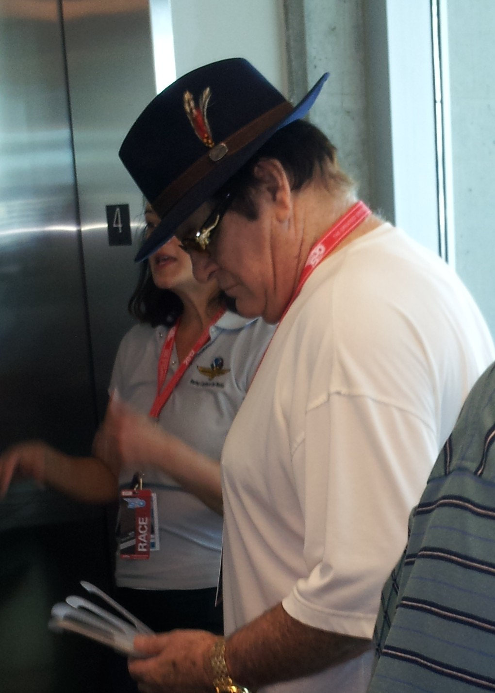 Pete Rose attends the Indianapolis 500. He's seen here waiting to enter the media center elevator.