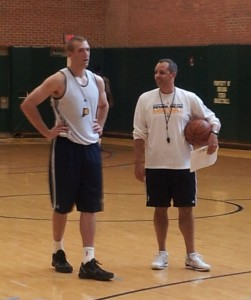 Robbie Hummel stands with Pacers coach Frank Vogel after a workout at Bankers Life Fieldhouse this past summer. Photo by Cliff Brunt.