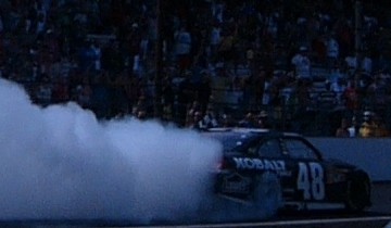 Jimmie Johnson victory burnout
