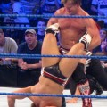 "Chris Jericho applies the ""Walls of Jericho"" on Daniel Bryan at SmackDown in Indianapolis. Photo by Justin Whitaker."