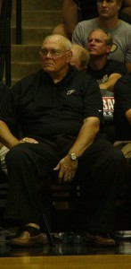 Gene Keady looks on at the Alumni Game. Photo by Cliff Brunt.