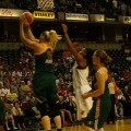 Seattle's Lauren Jackson (15) grabs one of her 10 rebounds against the Indiana Fever.