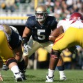 Manti Te'o lines up againsty USC last season. From Notre Dame Athletics.