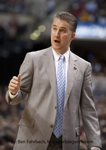 Matt Painter coaches against Notre Dame last season.