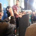Manti Te'o talks at the NFL Combine. Photo by Cliff Brunt.