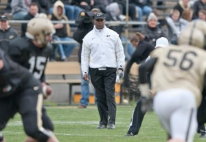 New Purdue coach Darrell Hazell at the Spring Game. Photo by Paul Siegfried.