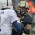 Purdue's Kawann Short. shown here against Penn State, was drafted in the second round on Friday. Photo by Ben Fahrbach.