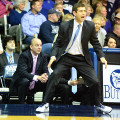 Former Butler coach Brad Stevens returned to Indiana on Sunday.