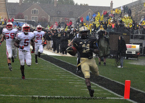 Purdue running back Akeem Hunt, pictured here scoring a touchdown against Wisconsin, is poised to have a breakout season.