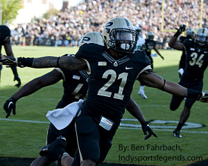 Purdue cornerback Ricardo Allen celebrates his interception return for a touchdown against Marshall last season.