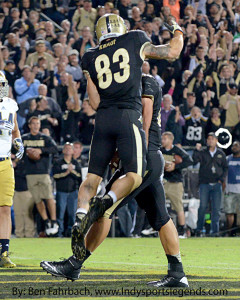 Purdue's B.J. Knauf (83) celebrates scoring a touchdown against Notre Dame.