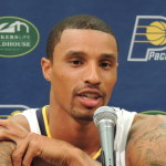 George Hill was in a jocular mood Friday. (Photo by Chris Goff.)