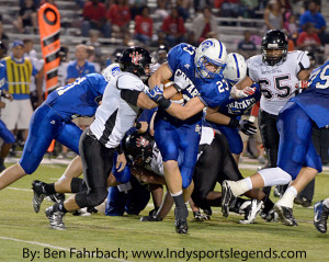 Chatard's Alex Kimack runs against North Central.