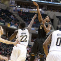 Terone Johnson (0), shooting a floater here against Notre Dame, is one of Purdue's four captains.