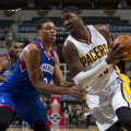 Roy Hibbert, shown here against Philadelphia during the regular season, dominated Washington on Wednesday night. Photo by Jeff Clark, Pacers Sports and Entertainment.