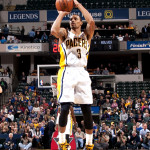 George Hill scored 14 points in the Pacers loss to Sacramento. (Photo by Pacers Sports and Entertainment)
