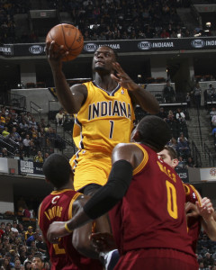 Pacers guard Lance Stephenson goes up for two of his career-high 22 points on Saturday. Photo by Jeff Clark, Pacers Sports and Entertainment.