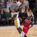 Indiana's Lance Stephenson throws it down early this season against Chicago. Photo by Frank McGrath. Pacers Sports and Entertainment.
