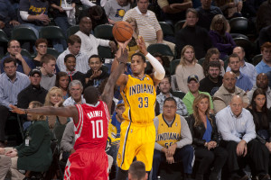 Pacers forward Danny Granger shoots against Houston. Photo by Frank McGrath, Pacers Sports and Entertainment.
