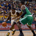 Lance Stephenson (1) drives to the basket. He had a triple-double against Boston. Photo by Jeff Clark, Pacers Sports and Entertainment,