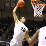 Purdue center A.J. Hammons dunks. The Boilermakers, like many of the state's teams, disappointed this season. Photo by Cory Seward.