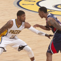 Indiana's Paul George guards Atlanta's Jeff Teague during Game 2. Photo by Frank McGrath. Pacers Sports and Entertainment.
