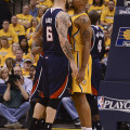 Pero Antic and Atlanta showed no fear against the brash, physical Pacers. Photo by Pacers Sports and Entertainment.