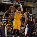 Lavoy Allen records a double-double with 12 points and 15 rebounds in the Pacers win. (Photo by Pacers Sports and Entertainment)