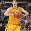 Damjan Rudez scored 13 points in 16 minutes off the bench on Friday night. (Photo by Pacers Sports and Entertainment)
