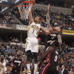 George Hill slams home a highlight reel dunk in the win over Miami. (Photo by Pacers Sports and Entertainment)