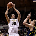 Purdue big man A.J. Hammons shoots against Michigan last season. Photo by Purdue Athletics.