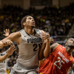 Purdue's A.J. Hammons fights for a rebound against Maryland.
