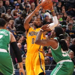 C.J. Miles led the second unit with 17 points in the Pacers win over Boston. (Photo by Pacers Sports and Entertainment)