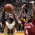 Rapheal Davis, 35, shoots against Indiana's Robert Johnson. Photo by Purdue Athletics.