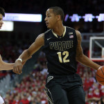 Purdue's Vince Edwards handles the ball during a loss to Wisconsin. From Purdue Athletics.