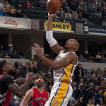 David West had 11 points, eight rebounds, and five assists in a loss to the Raptors. (Photo by Pacers Sports and Entertainment)