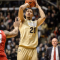 Purdue's A.J. Hammons shoots against Ohio State. Photo by Purdue Athletics.