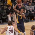 George Hill recorded his first career triple-double on Friday night in the win over Cleveland. (Photo by Pacers Sports and Entertainment)
