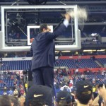 Coach K cuts down the net for the fifth time in his career.  (Photo by Tyler Smith)