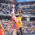 Roy Hibbert shoots over Marcin Gortat. Was it his final home game as a Pacer? (Photo by Pacers Sports and Entertainment)