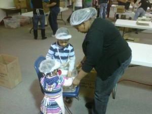 Christina doing volunteer work with kids, 2011.