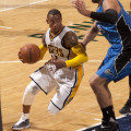 Monta Ellis hit two clutch-free throws to secure the victory over Boston on Wednesday night. (Photo by Pacers Sports and Entertainment)