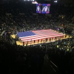 Flag at Mackey Arena. Photo by Keith Carrell.