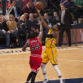 Paul George scored 20 points in the Pacers loss to Chicago on Tuesday. (Photo by Pacers Sports and Entertainment)