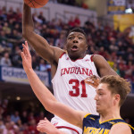 Thomas Bryant soars over a Michigan defender. (Photo by Jamie Owens)