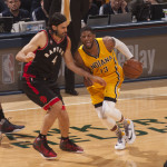 Paul George drives on former teammate Luis Scola in Game 3. (Photo by Pacers Sports and Entertainment)