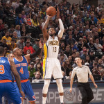 Paul George will look to lead the Pacers against Toronto in the first round. (Photo by Pacers Sports and Entertainment)