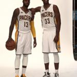 Paul George (13) and Myles Turner (33) pose on Media Day. Photo by Tyler Smith.